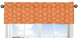 Orange and White Arrow Print Window Treatment Valance for the Orange and Navy Arrow Collection