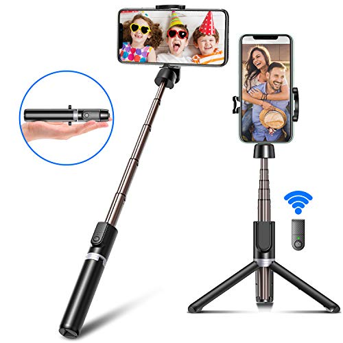 Bcway Selfie Stick Tripod, All in 1 Portable Extendable Phone Tripod with Bluetooth Remote, Aluminum Monopod Compatible for iPhone 11 Pro Max XS XR X 8 Plus, Samsung Galaxy S10 Note 10, Huawei, More