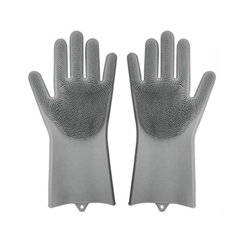 Magic Silicone Gloves Reusable Wash Scrubber Heat Resistant Cleaning Tool Great for Household, Dishwasher, Washing The Car, Pet Hair Care and Massage, a Pair (Gray) - Left Hand Massage Glove