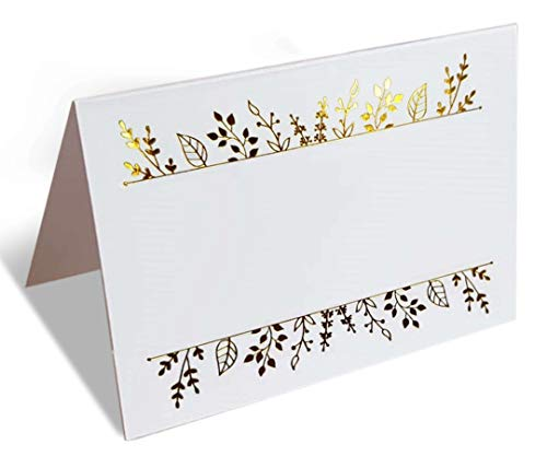 (100 Gold Foil Place Cards. Tented Table Seating Cards Perfect for Wedding, Banquets, and Any Event, Party or Reception. Large 2.5 x 3.75 inches Name Place Cards.)