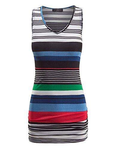 Made By Johnny WT1326 Womens Print Shirring Tank Top L Black_Stripe ()