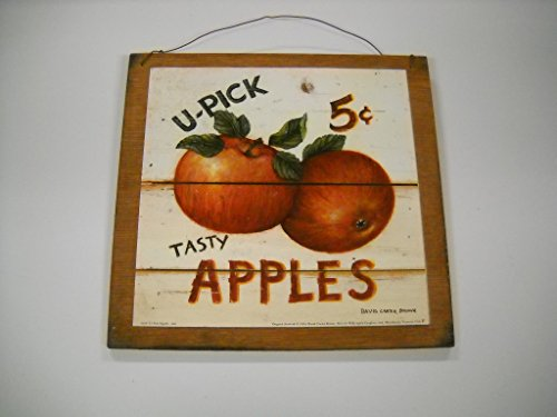 Art Apple - U-pick Tasty Apples Wooden Kitchen Wall Art Sign Fruit Decor *