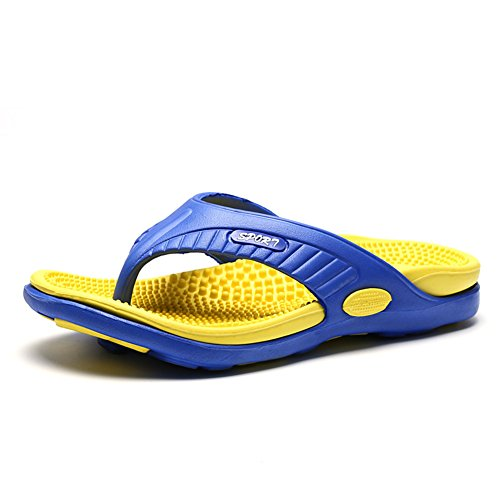 Scurtain Mens Casual Massage Flip Flop Slippers Comfortable Pool Beach Sandal Yellow lW9lz5