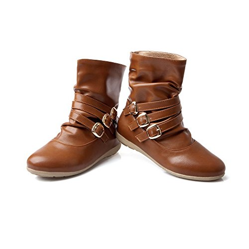 Brown Pull Solid Women's Material Low Heels Top Allhqfashion On Low Soft Boots 4PRAnxH