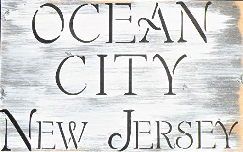 Hand Painted Jersey Shore Town Name Sign, New Jersey Beach Town Distressed Pine Wood Sign, NJ Beach House Rustic Sign, Custom Beach House City State Handmade Sign