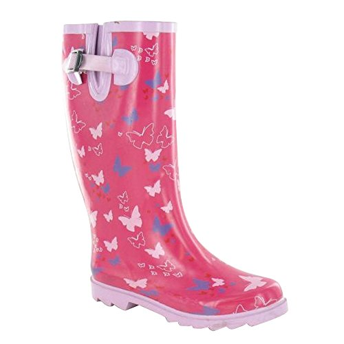 Wellies Print Butterfly Fuchsia Ladies On Womens Spot wXfTHH