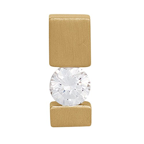 Anhänger 585 Gold Gelbgold mattiert 1 Diamant Brillant 0,25ct. Solitär