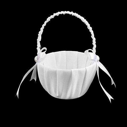 Agordo 5X(White Satin Beaded Wedding Flower Girl Basket Bowknot Decor U4C8