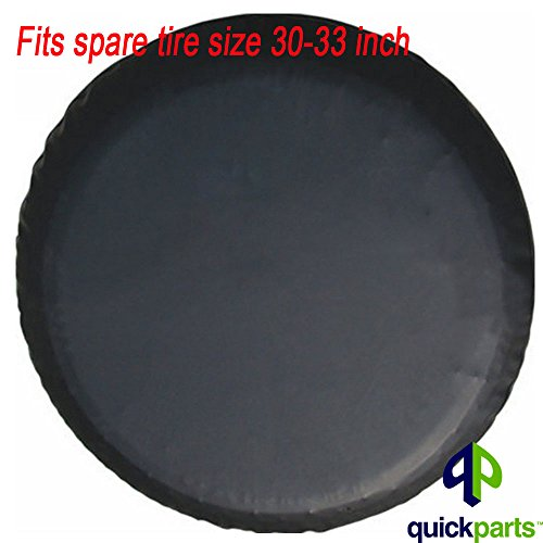 32in Tire - BCP Black Color PU Leather Spare Tire Cover (Fit 31-33 inches)