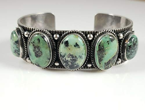 - Navajo Sterling Silver Rare Pixie Turquoise Row Cuff Bracelet Signed Andy Cadman