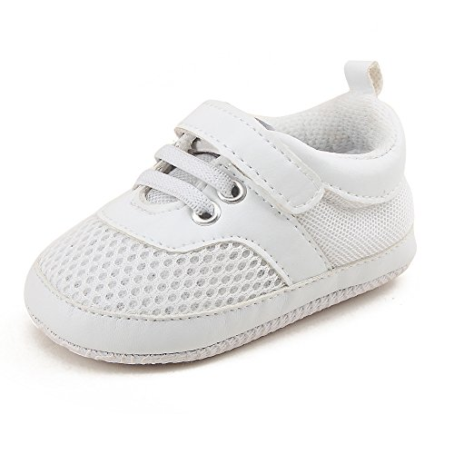 OOSAKU Baby Breathable Mesh Shoes Hook & Loop Sneakers. (5 M US Toddler, White)