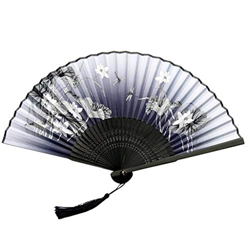 ℳodern Garden Chinese Folding Fans Handheld Fans Bamboo Fans Women's Hollowed Bamboo Hand Holding Fan Folding Dance Wedding Party (D)