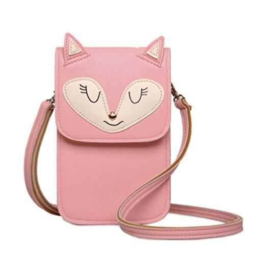 YaJaMa Women Crossbody Bag Purse Carton Fox/Mouse Leather Girls Small Shoulder Bag (Pink fox with ID - Bag Shoulder Epi Leather