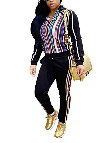 (Women's Rainbow Stripe Sweatsuits - Fashion Front Zip up Hoodied Jogging Suits Medium)