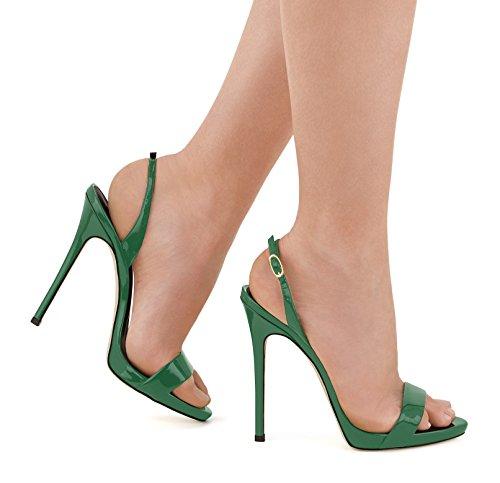 uBeauty Damen Knöchelriemchen Sandalen Mit Schnalle Peep Toe Stiletto Sexy Sandalen Große Größe Schuhe Grün