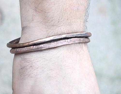 Handmade Bangle cuffs, Set of Bangles, Rustic Distressed Mens Urban Copper Brutalist Embossed, Industrial Mans Slim Cuff Bracelet, Biker, Rocker, arthritis