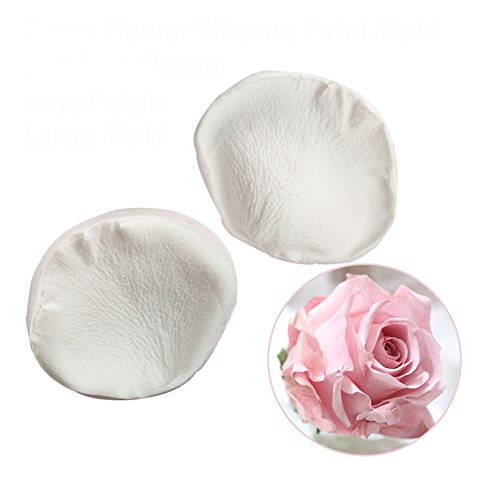 KALAIEN 3D Rose Petals Shape Silicone Fondant Mold Chocolate Molds Candy Molds Veining Petal Sugar Flower Making Tool