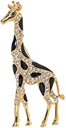 """Giraffe Brooch Pin 3"""" with Exquisite Detail and Genuine Crystal Accents"""