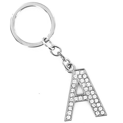 Qingfan Keyring A-Z Initials Letter Key Chain Shiny Silver Key Ring Pendant (A) -