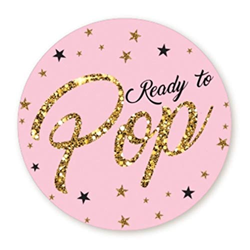 (Ready to Pop Stickers | Faux Glitter | Ready To Pop Baby Shower Stickers for Popcorn | Ready to Pop Stickers for Boy and Girl (Pink, 2.0