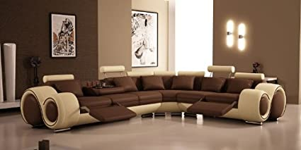 Amazon.com: 4087 - Bonded Leather Sectional Sofa with Recliners by ...