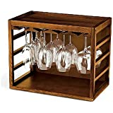 Cube-Stack Wine Glass Rack -Walnut Stain