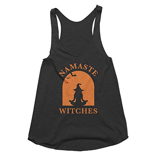 Spunky Pineapple Namaste Witches Halloween Tank Top for Women - Yoga Graphic Shirt