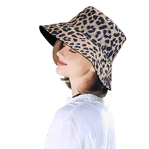 (DOCILA Fashion Floppy Sun Hats for Women Leopard Printed Packable Fisherman Bucket Caps (LightKhaki))