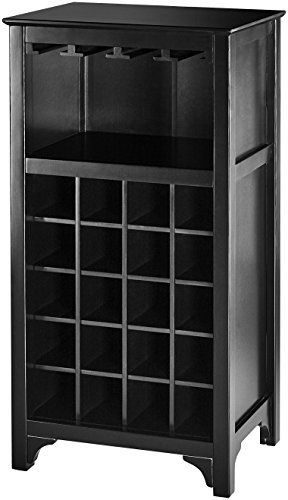 Muse Home 20-Bottle Wine Cabinet with Glass Rack - Black