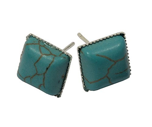Earrings, Silver Plated Plated Post and Clutch Turquoise Magnesite Gemstone Earrings + FREE GIFT BAG ()