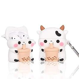 Boba Tea Cow Airpods 1/2 Case, 3D Cartoon Cute Kawaii Chic Cow Airpod Design Kids Teens Girls Boys Women Shockproof…