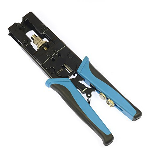 Wovier Multifunctional Adjustable Coax Compression Connector Crimping Tool 3-in-1 and Wire Cutter for RG58 RG59 RG6 F BNC RCA Type and Watertight Fittings by Wovier
