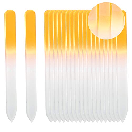 - SIUSIO Set of 20 Professional Crystal Glass Nail Files Buffer Manicure Gradient Rainbow Color for Nail polishing - Best for Fingernail & Toenail Care (yellow)