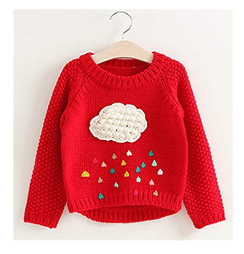 New Cartoon Clouds Pullover Raindrop Printed Thick Sweater Top for Children's Kids Clothes Red 4T by Gail Jonson