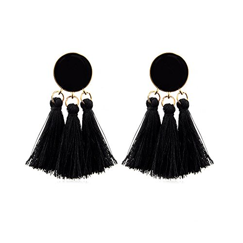 CAIYCAI Bohemian Tassel Earrings Gold Color Round Drop Earrings For Women Wedding Long Fringed Earrings F6811 ()