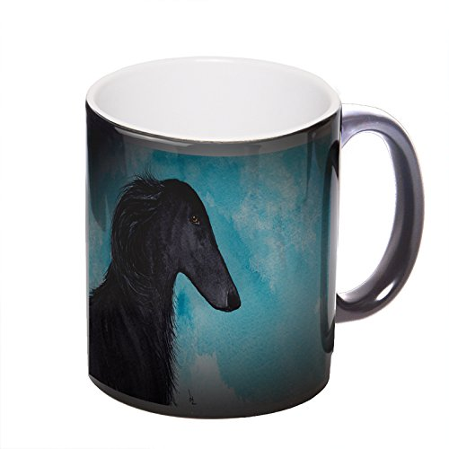 Borzoi Mug (Black Borzoi Sighthound Dog Art by Denise Every - Heat Morph Color Changing Black Coffee Mug with Round Rubber Drink Coaster)
