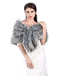Unicra Women's Wedding Faux Fur Wraps and Shawls Wedding Bridal Scarves for Brides and Bridesmaids (Grey)
