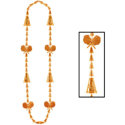 Cheerleading Beads (orange) Party Accessory  (1 count) (Cheerleading Party Beads)