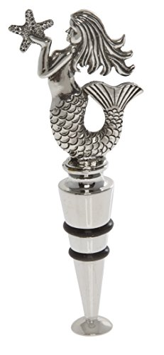 Thirstystone Mermaid Wine Stopper, Silver (Silver Wine Bottle Stopper)