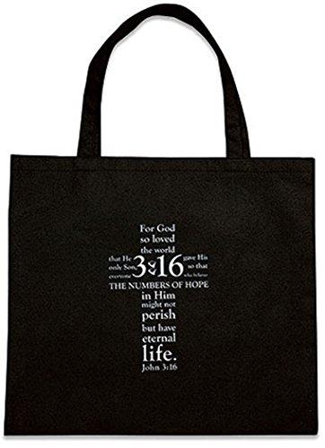 John 3:16 Recycled Nylon Tote Bag, 13 Inch, Black