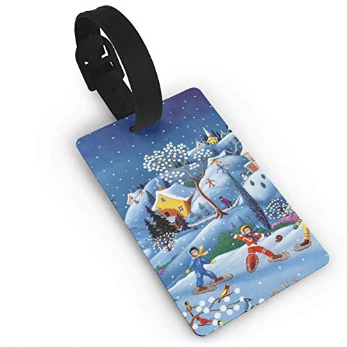 Cartoon Snowing Luggage Tags Travel Suitcase Labels Thick Bag Tag Business Card Holder with Adjustable Strap ()