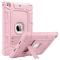 iPad 2017/2018 iPad 9.7 inch Case, iPad Case for Kids, ULAK Kickstand Shockproof Protective Case Three Layer Heavy Duty Soft Silicone Rubber Skin Hard Cover for iPad 9.7 2017/2018-Rose Gold