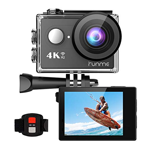 RUNME R2 4K Sports Action Camera, 12MP Wi-Fi Camera 170-Degree Wide-Angle Lens, Underwater Action Cam 2.4G Remote Control Accessories