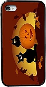 Rikki KnightTM Halloween Pumpkin And Black Cat Design iPhone 5 & 5s Case Cover (Black Rubber with bumper protection) for Apple iPhone 5 & 5s