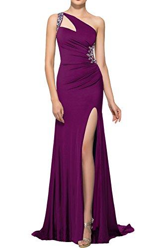 Schleppe Cocktailkleider Ivydressing Damen Rueckfrei mit Fuchsie Partykleider Elegant Promkleider Abendkleider Traeger Asymmetrisch Strass Ein 7Tqd7zC