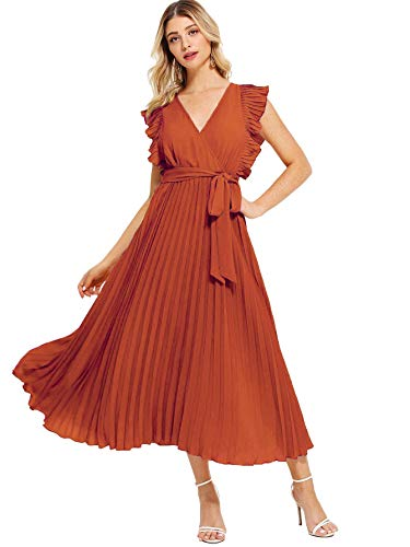 Milumia Women Wrap V Neck Pleated Casual Fit Flare Maxi Summer Dress Rust L
