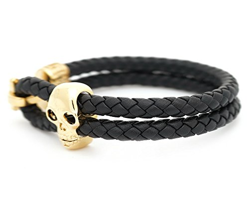 VIRGINSTONE Gold Plated Genuine Woven Cowhide Leather Skull Bracelet (Black, M(Suit for wrist circumference 16.5~17.5cm))