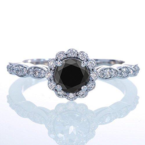 1.5 Carat Round Cut Black Diamond and Diamond Flower Vint...