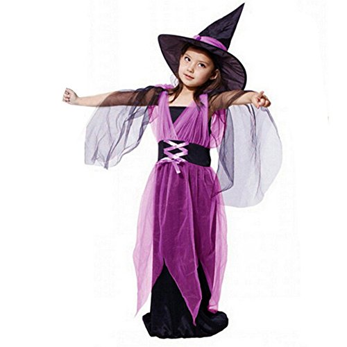 kaifongfu Baby Girls Halloween Clothes, Toddler Kids Costume Dress Party Dresses+Hat Outfit (8-9T(130), Purple Long) ()