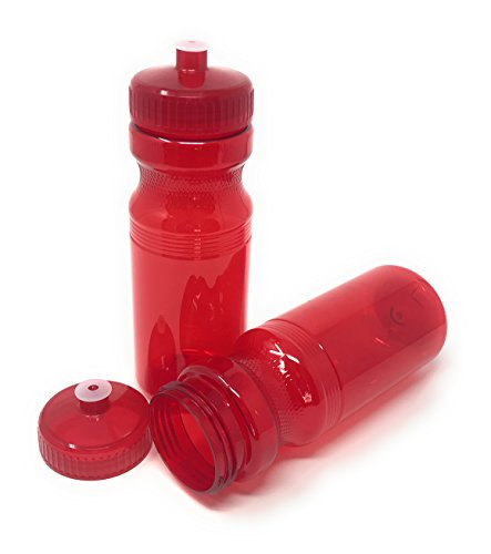 (CSBD Blank 24 oz Sports and Fitness Water Bottles, BPA Free, PET Plastic, Made in USA, Bulk, 4 Pack (Red, 24 Ounces))